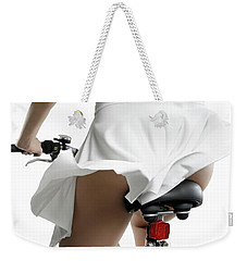 Young Woman On A Bicycle Weekender Tote Bag