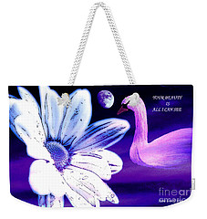 Your Beauty With Swan Moon And White Flower Weekender Tote Bag by Annie Zeno