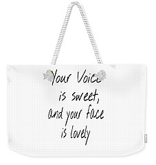 Weekender Tote Bag featuring the digital art Lovely Face by Jessica Eli