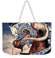Weekender Tote Bag featuring the painting Yuellas The Bulvaen Horse by Curtiss Shaffer