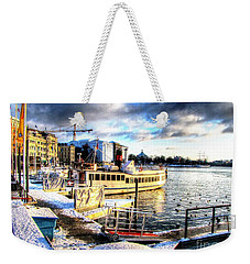 Weekender Tote Bag featuring the pyrography Yury Bashkin Stockholm Swiss Winter by Yury Bashkin