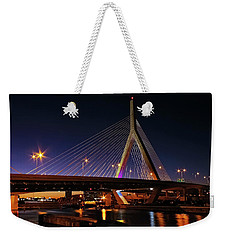 Weekender Tote Bag featuring the photograph Zakim Bridge Boston Massachusetts At Night by Betty Denise