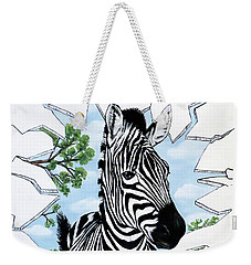 Weekender Tote Bag featuring the painting Zany Zebra by Teresa Wing