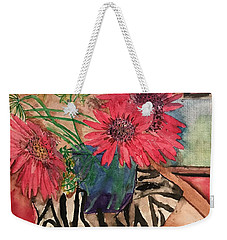 Zebra And Red Sunflowers  Weekender Tote Bag