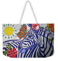 Weekender Tote Bag featuring the painting Zebra And Things by Alison Caltrider