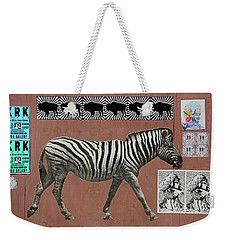 Weekender Tote Bag featuring the photograph Zebra Collage by Art Block Collections