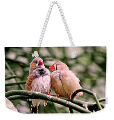 Weekender Tote Bag featuring the photograph Zebra Finch Colloquy by Rona Black