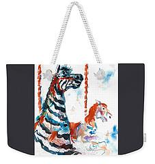 Zebra Gets A Ride The Ocean City Boardwalk Carousel Weekender Tote Bag