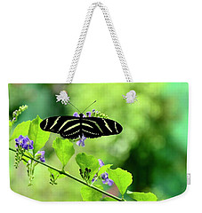 Weekender Tote Bag featuring the photograph Zebra Longwing Butterfly by Corinne Rhode