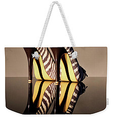 Weekender Tote Bag featuring the photograph Zebra Print Stiletto by Terri Waters
