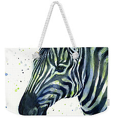 Zebra Watercolor Blue Green  Weekender Tote Bag by Olga Shvartsur