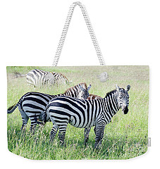 Zebras In Serengeti Weekender Tote Bag by Pravine Chester