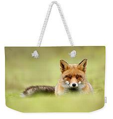 Zen Fox Series - Zen Fox In A Sea Of Green Weekender Tote Bag by Roeselien Raimond