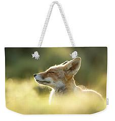 Zen Fox Series - Zen Fox Up Close Weekender Tote Bag by Roeselien Raimond