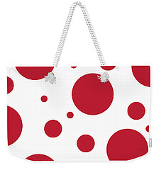 Weekender Tote Bag featuring the digital art Zen Sphere Red On White by Bruce Stanfield