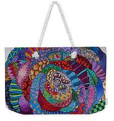 Weekender Tote Bag featuring the drawing Zendala 2 by Megan Walsh