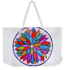 Weekender Tote Bag featuring the drawing Zendala No. 4 by Megan Walsh