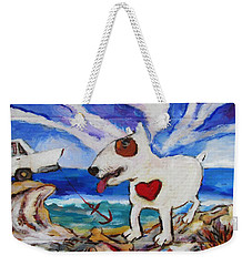 Weekender Tote Bag featuring the painting Zephyr Dog Goes To The Beach by Dianne  Connolly