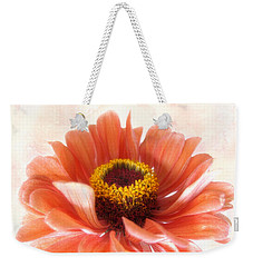 Weekender Tote Bag featuring the photograph Zinnia Bright by Louise Kumpf