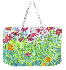 Weekender Tote Bag featuring the painting Zinnias  by Cathie Richardson