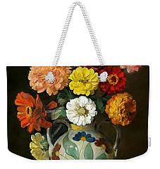 Zinnias In Decorative Italian Vase Weekender Tote Bag