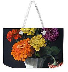 Zinnias Showing Their True Colors In White Vase Weekender Tote Bag