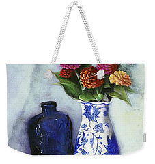 Zinnias With Blue Bottle Weekender Tote Bag by Marlene Book