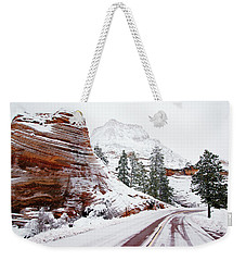 Zion Road In Winter Weekender Tote Bag by Daniel Woodrum