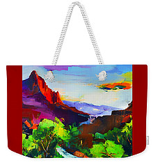 Weekender Tote Bag featuring the painting Zion - The Watchman And The Virgin River by Elise Palmigiani