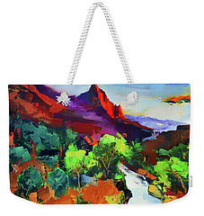 Weekender Tote Bag featuring the painting Zion - The Watchman And The Virgin River Vista by Elise Palmigiani