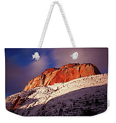 Zion's East Temple At Sunset Weekender Tote Bag by Daniel Woodrum