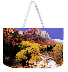 Weekender Tote Bag featuring the photograph Zion's Watchman by Norman Hall