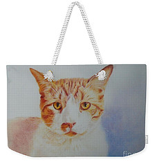 Weekender Tote Bag featuring the painting Zorba by Beatrice Cloake