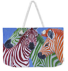 Weekender Tote Bag featuring the painting Zzzebras by Jamie Frier