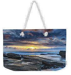 An Atmospheric Coastal Sunrise Weekender Tote Bag