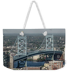 Weekender Tote Bag featuring the photograph Benjamin Franklin Bridge Panorama by Bill Cannon