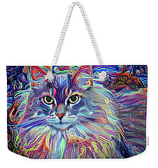 Colorful Long Haired Cat Art Weekender Tote Bag