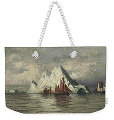 Weekender Tote Bag featuring the painting Fishing Boats And Icebergs by William Bradford