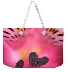 Weekender Tote Bag featuring the photograph Flower Close Up by John Rodrigues