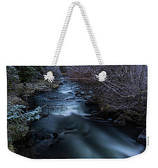 Frozen River And Winter In Forest. Long Exposure With Nd Filter Weekender Tote Bag