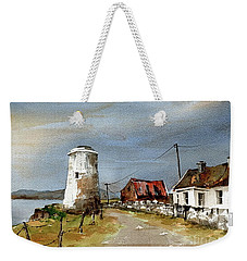 Weekender Tote Bag featuring the painting Lighthouse On Inis Boffin, Galway by Val Byrne
