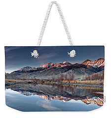 Weekender Tote Bag featuring the photograph Lost River Mountains Winter Reflection by Leland D Howard