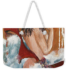 Weekender Tote Bag featuring the painting Nude by Miroslaw  Chelchowski