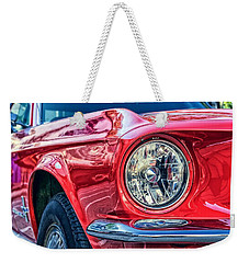 Weekender Tote Bag featuring the photograph Red Vintage Car by Top Wallpapers