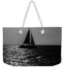 Sailing Into The Sunset Black And White Weekender Tote Bag