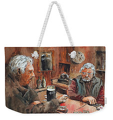Weekender Tote Bag featuring the painting The Knave Wins by Val Byrne