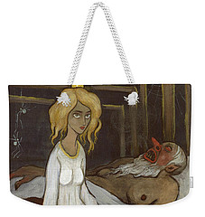 Weekender Tote Bag featuring the drawing The Princess And The Troll by Ivar Arosenius