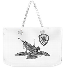 Weekender Tote Bag featuring the drawing 10th Marines 777 by Betsy Hackett