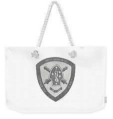 Weekender Tote Bag featuring the painting 10th Marines Crest by Betsy Hackett