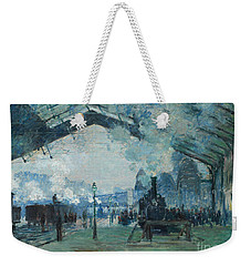 Weekender Tote Bag featuring the digital art Arrival Of The Normandy Train, Gare Saint-lazare by Claude Monet